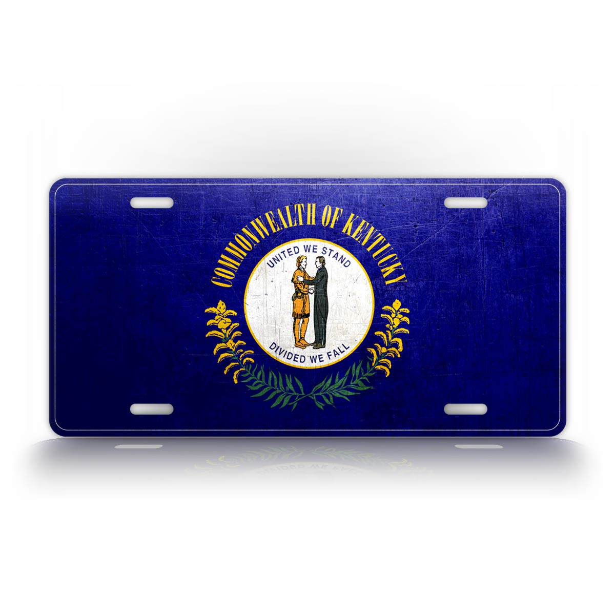 Kentucky State Flag Weathered Metal License Plate