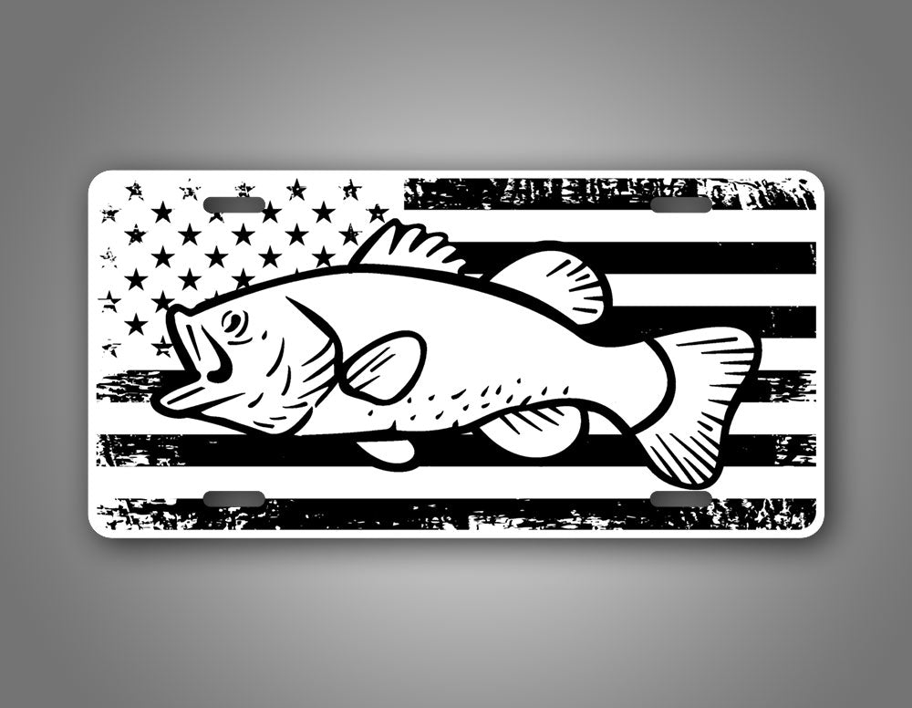 Large Mouth Bass American Flag License Plate