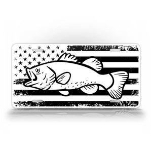Large Mouth Bass On A Black And White American Flag Fishing License Plate