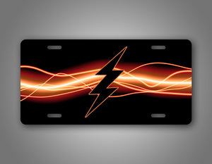Black Lightning Bolt Electric Flash License Plate Auto Tag