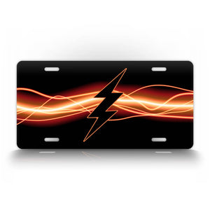 Black Lightning Bolt Electric Flash License Plate