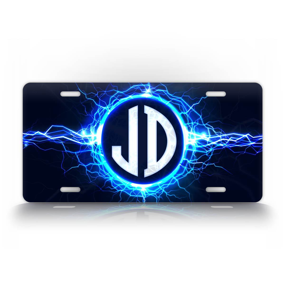 Custom Text Lightning Monogram Auto Tag Plate