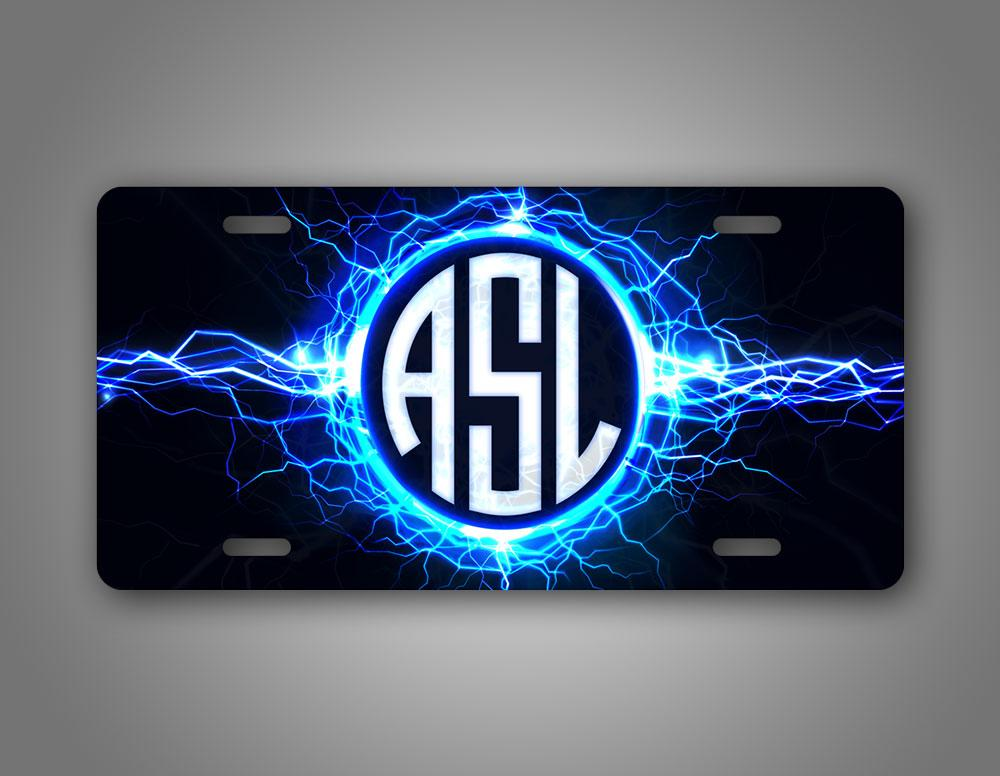 Custom Text Lightning Monogram License Plate Auto Tag
