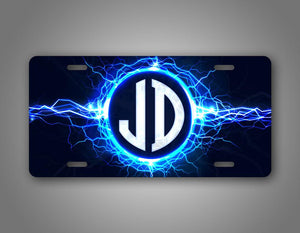 Any Text Custom Text Lightning Monogram License Plate