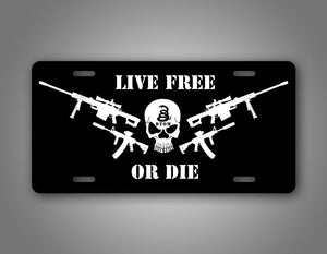 Live Free Or Die Punisher Skull Gun License Plate
