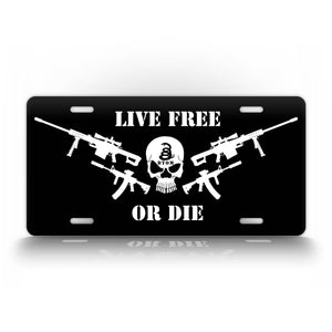 Live Free Or Die Patriotic Gun Owner License Plate Tactical Punisher Skull Auto Tag