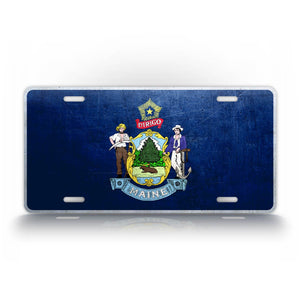 Maine State Flag Weathered Metal License Plate