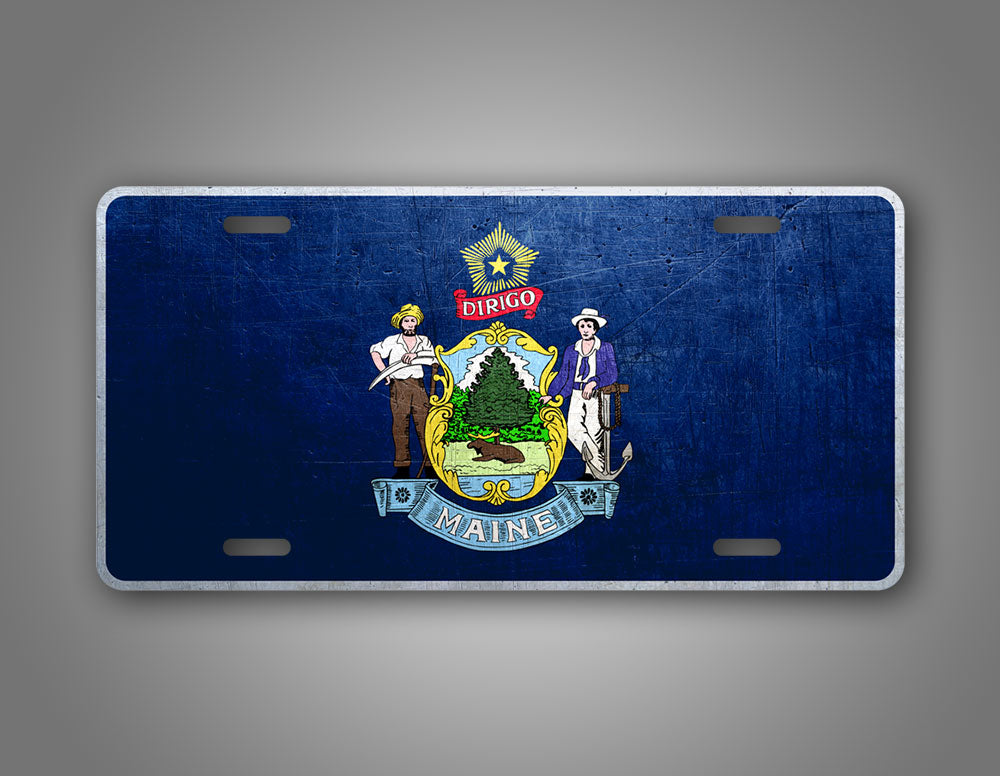 Weathered Metal Maine State Flag Auto Tag