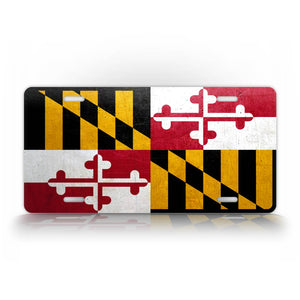 Maryland State Flag Weathered Metal License Plate