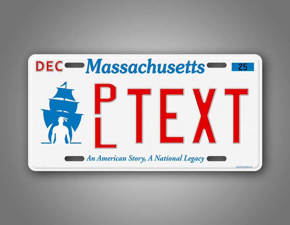 Custom Text Massachusetts Plymouth Novelty License Plate