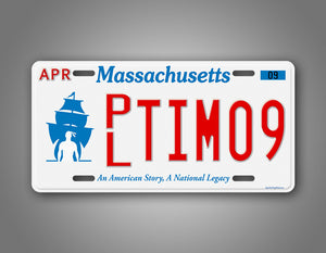 Any Text Novelty Massachusetts Plymouth License Plate