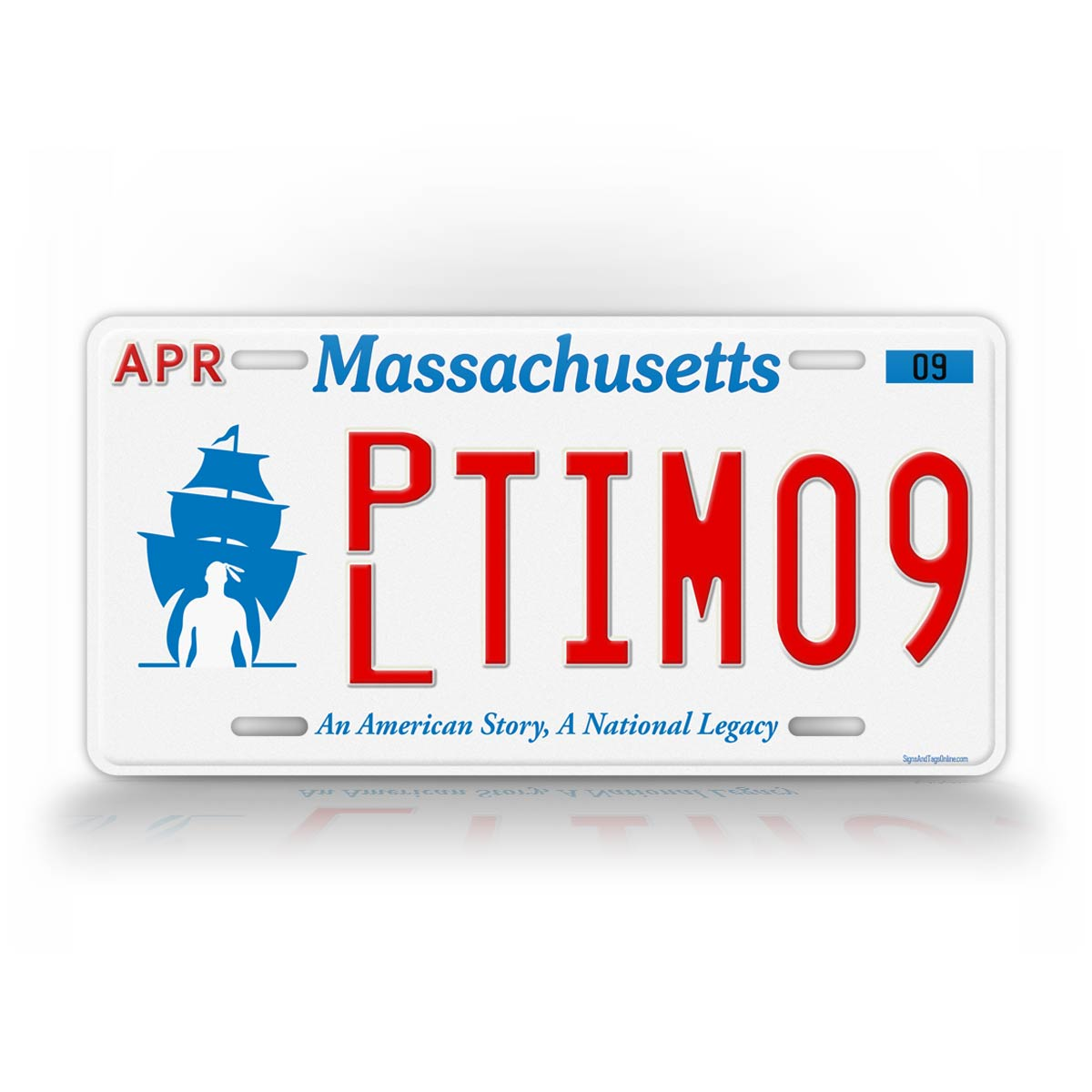 Any Text Massachusetts Plymouth Novelty License Plate