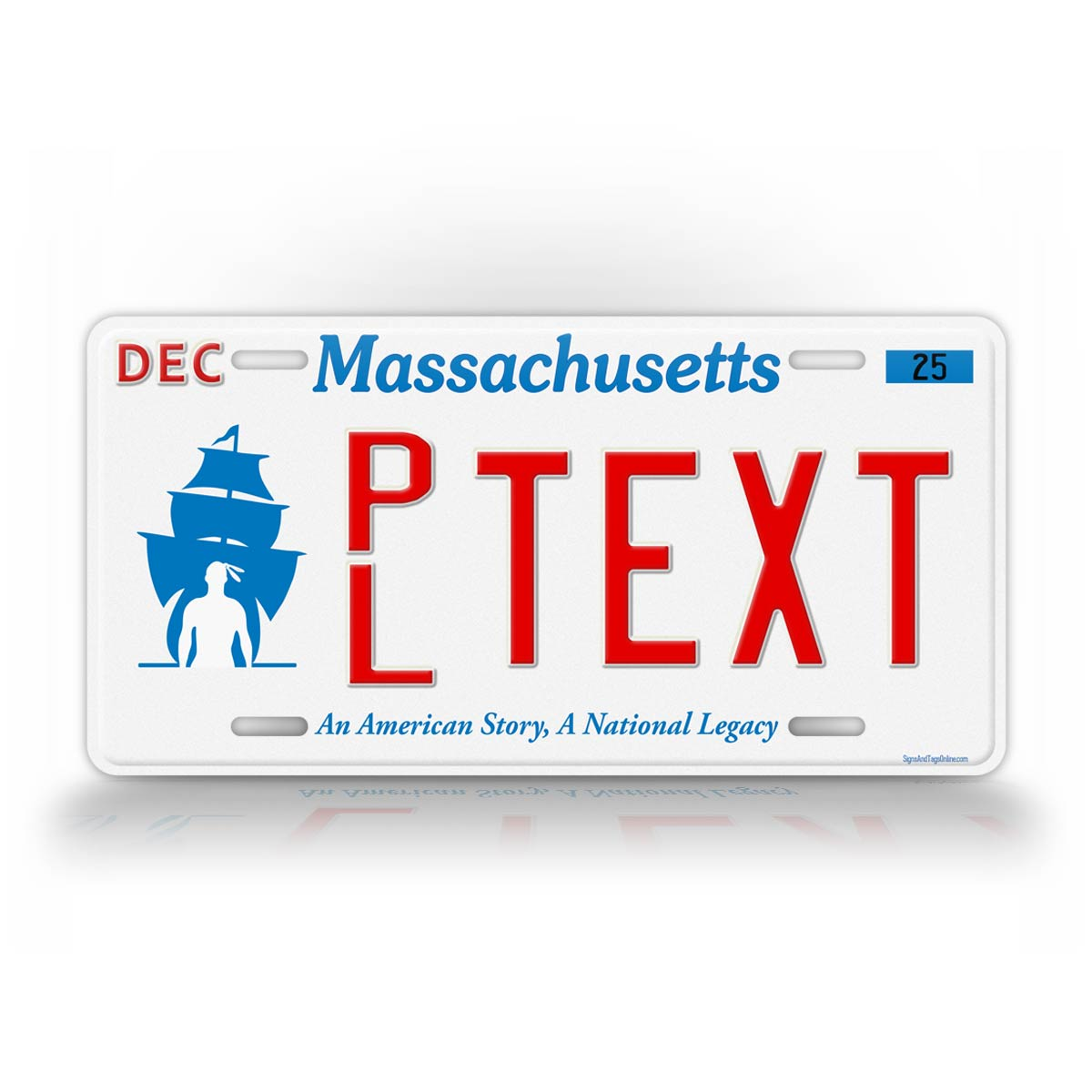 Personalized Text Massachusetts Plymouth Vanity License Plate