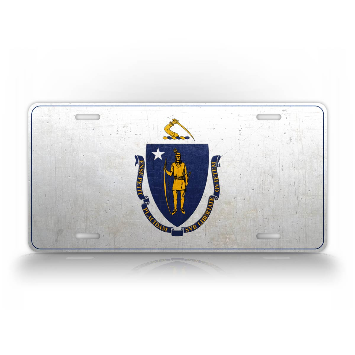 Massachusetts State Flag Weathered Metal License Plate