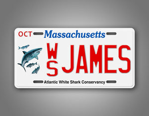 Custom Text Massachusetts Shark Auto Tag