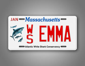 Any Text Custom Massachusetts Shark License Plate