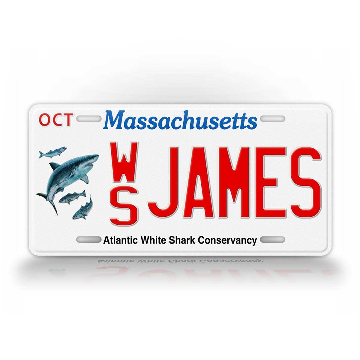 Custom Text Massachusetts White Shark License Plate