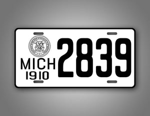 Any Text Black And White Michigan 1910 License Plate