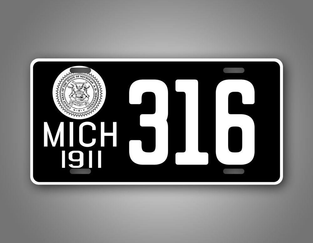 Personalized Text Michigan Antique Novelty 1911 License Plate