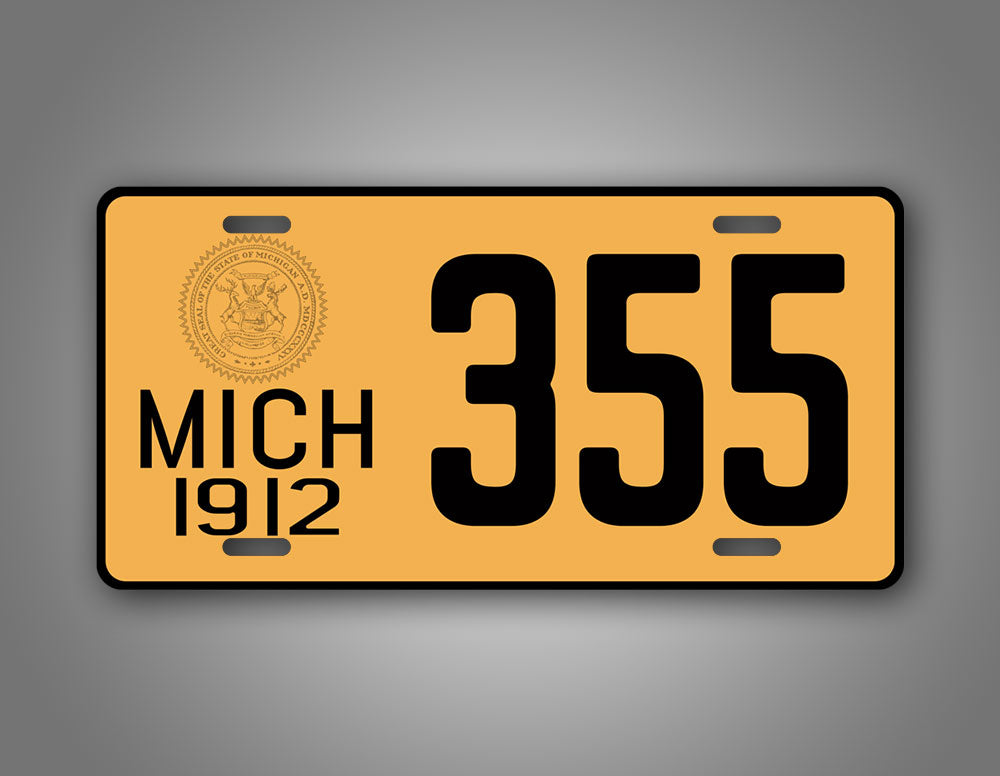Custom Yellow Michigan 1912 Any Text Novelty License Plate