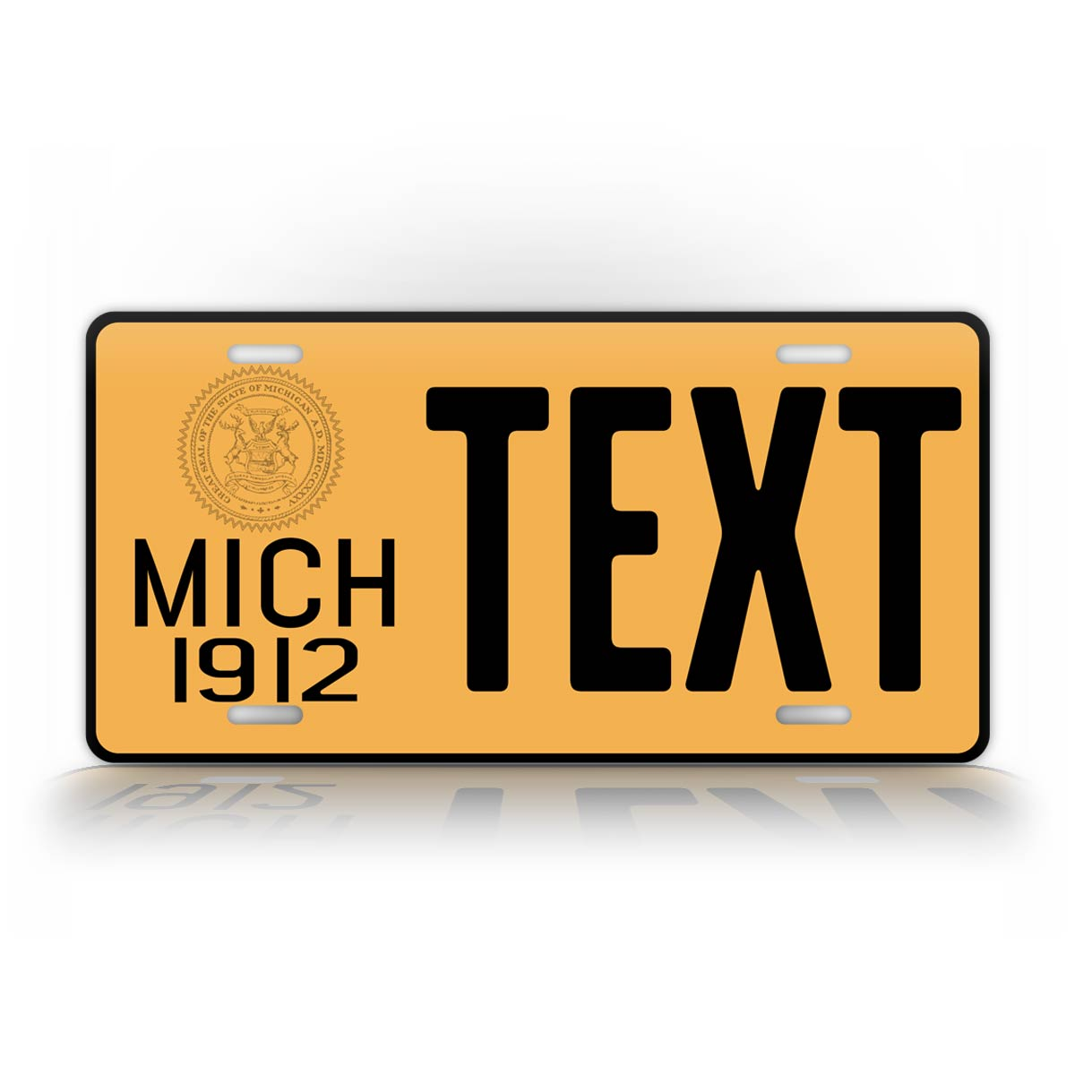 Custom Text Yellow Michigan 1912 License Plate