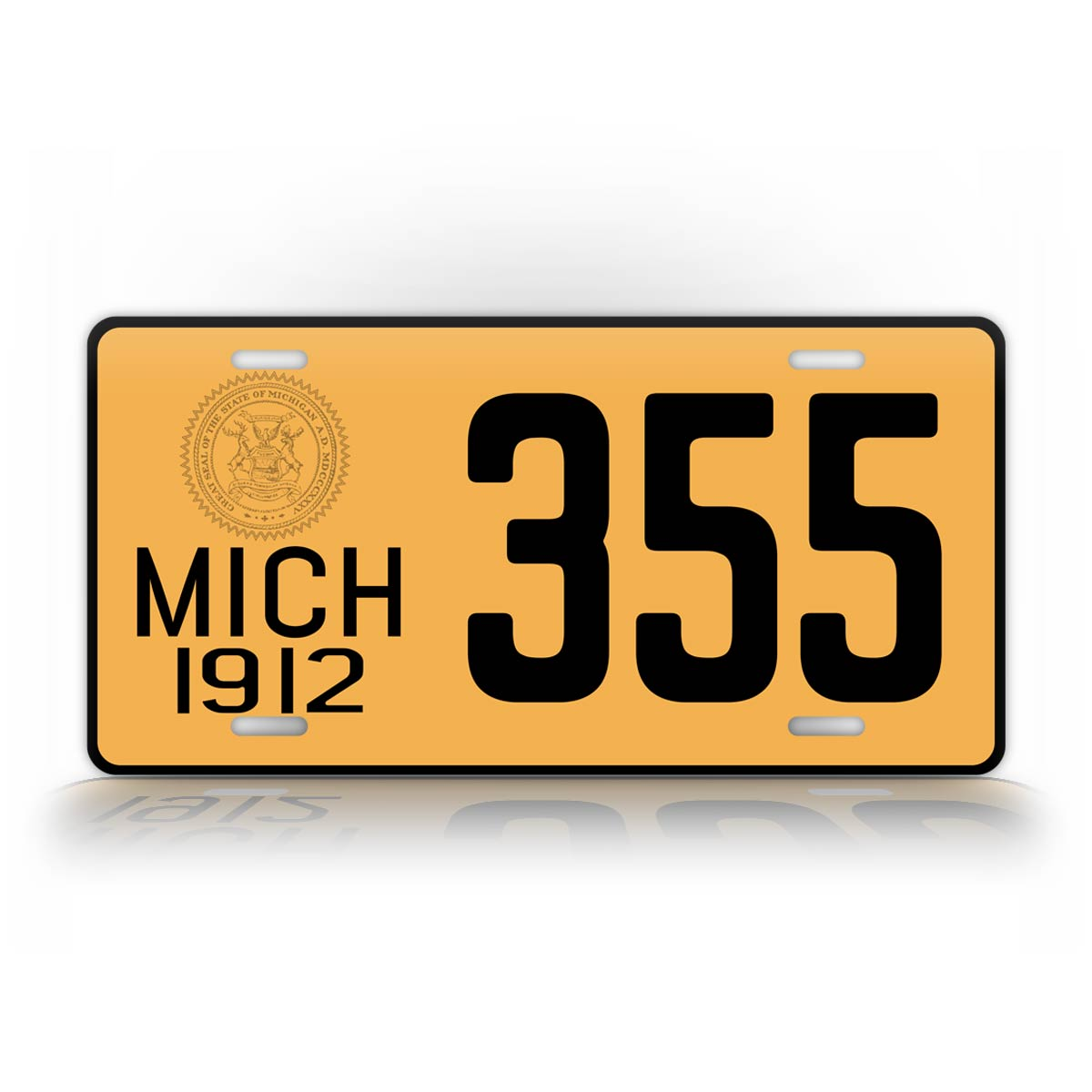 Personalized Yellow Michigan 1912 License Plate