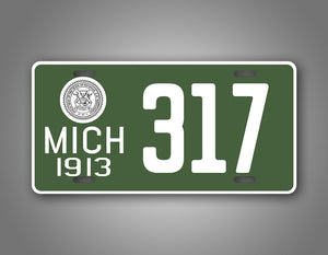 Custom Text Green Michigan State Novelty 1913 License Plate