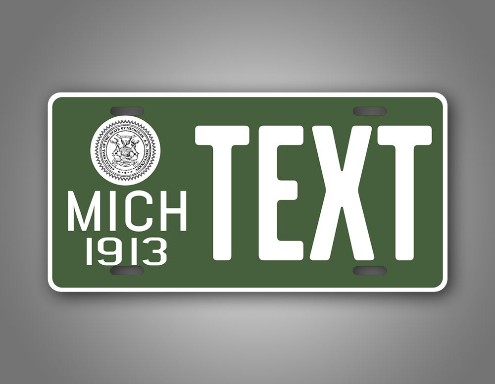 Green Antique Novelty Michigan 1913 License Plate