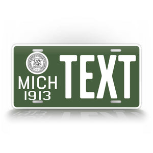 Custom Text Michigan Green 1913 Novelty License Plate