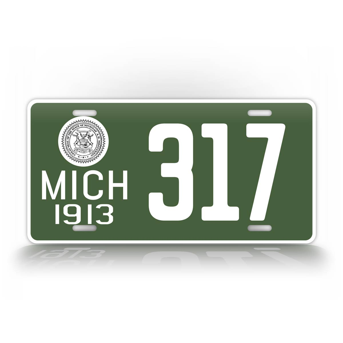 Personalized Green Michigan 1913 Any Text Auto Tag