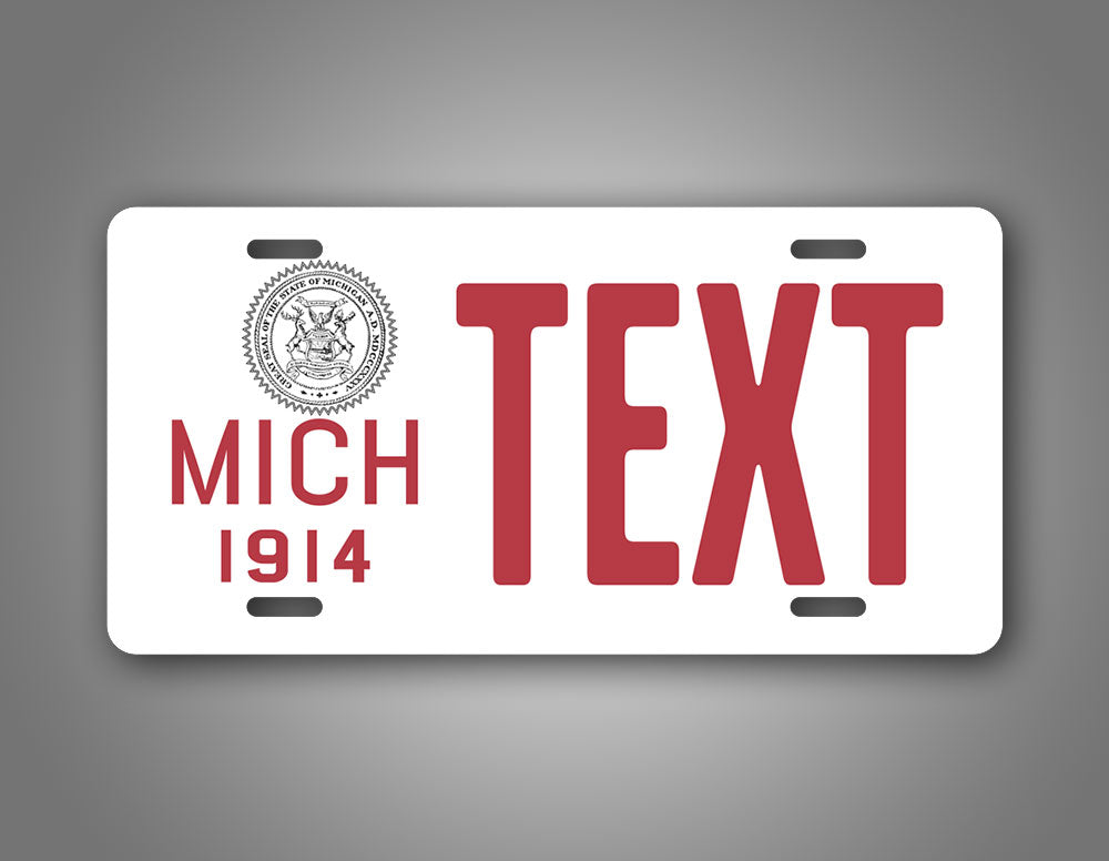 Personalized Text Michigan 1914 License Plate
