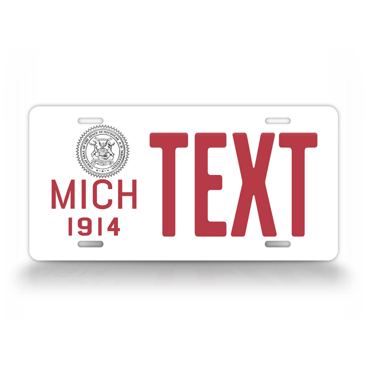 Custom Text Red And White Michigan Novelty 1914 License Plate