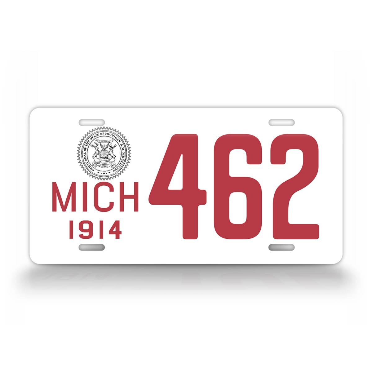 Custom Text Michigan Red And White 1914 License Plate