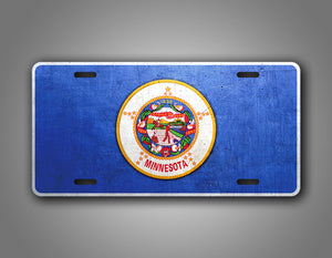 Weathered Metal Minnesota State Flag Auto Tag