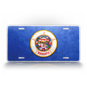 Minnesota State Flag Weathered Metal License Plate