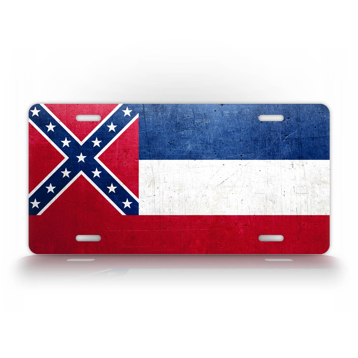Mississippi State Flag Weathered Metal License Plate