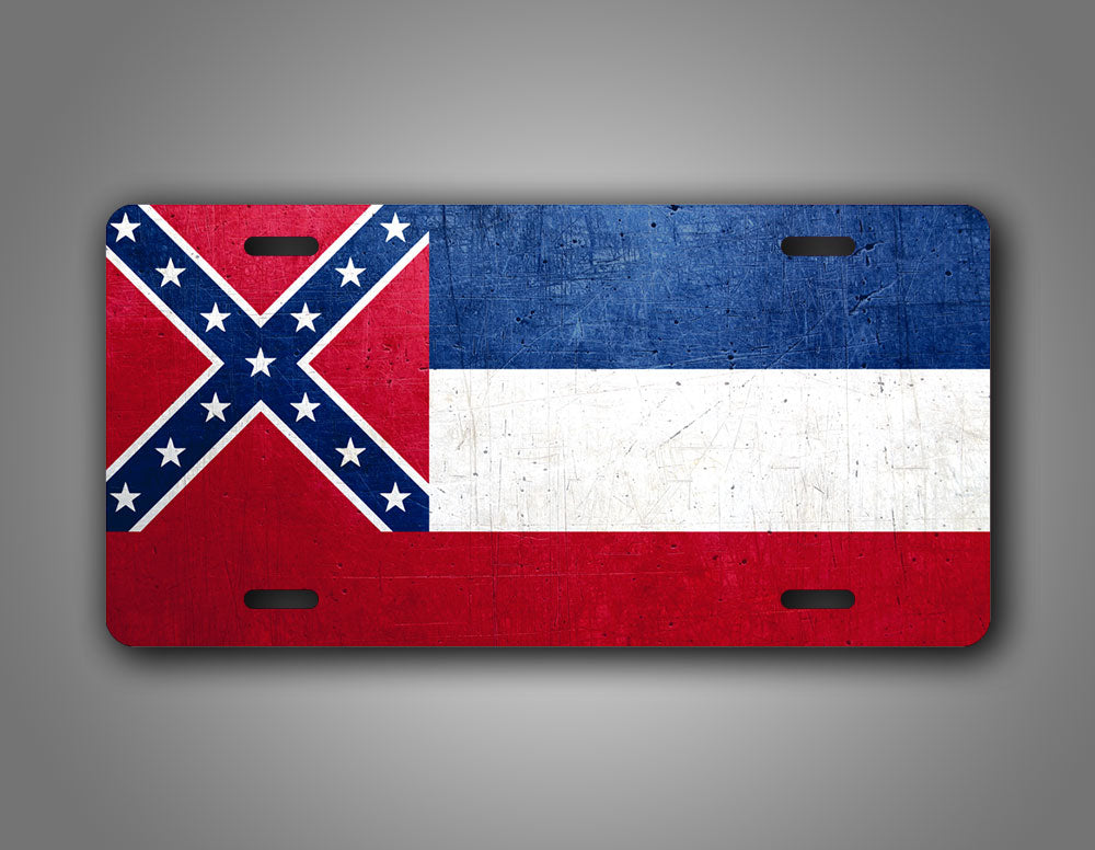 Weathered Metal Mississippi State Flag Auto Tag