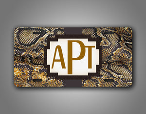 Custom Text Novelty Brown Snakeskin Monogram License Plate