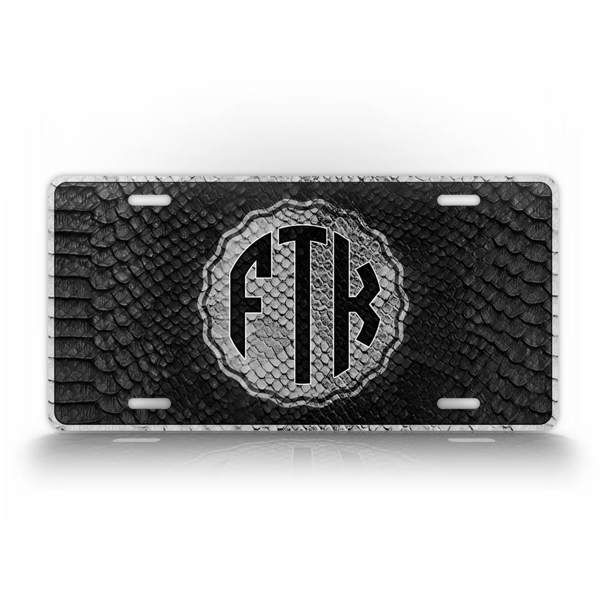Personalized Text Black Snakeskin Monogram License Plate