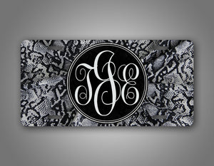 Personalized 3 Letter Grey Snakeskin Monogram License Plate
