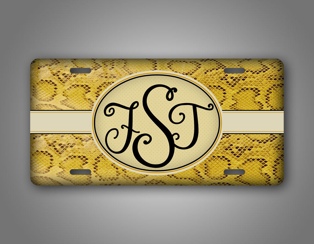 Monogrammed Woman's Yellow Snakeskin License Plate