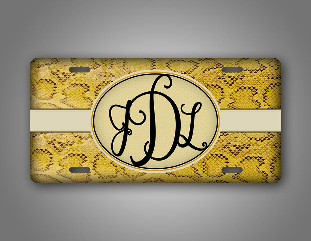 Personalized Yellow Woman's Snakeskin Monogram License Plate