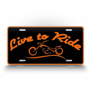 Orange Live To Ride Harley Davidson Rider Motercycle License Plate Auto Tag