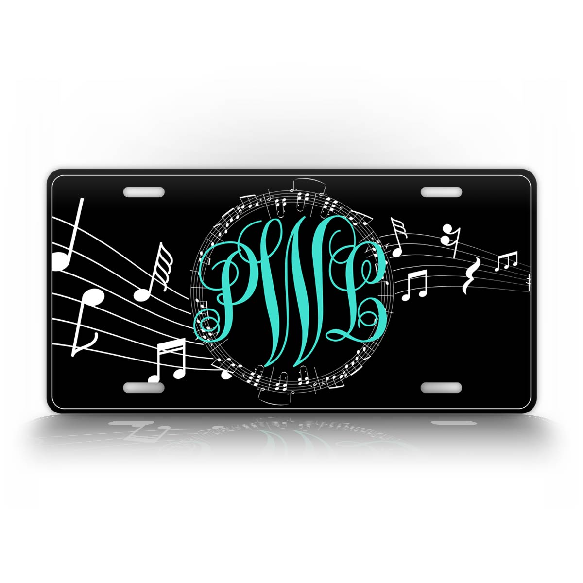 Music Notes Monogram License Plate