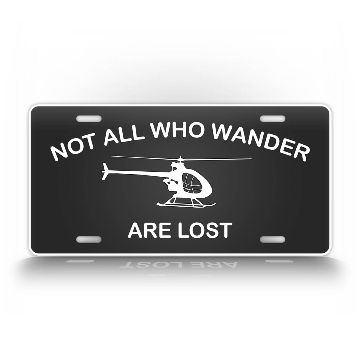 Not All Who Wonder Are Lost Ultralight Helicopter Pilot License Plate