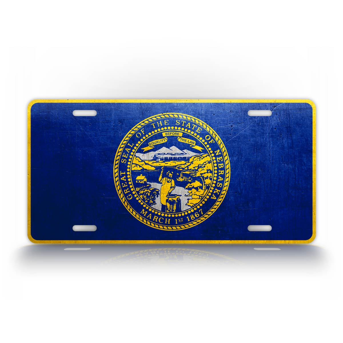 Nebraska State Flag Weathered Metal License Plate