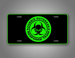 Neon Green Zombie Outbreak Response Team License Plate Auto Tag
