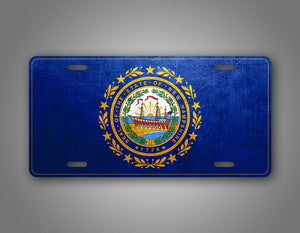 Weathered Metal New Hampshire State Flag Auto Tag