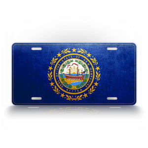 New Hampshire State Flag Weathered Metal License Plate
