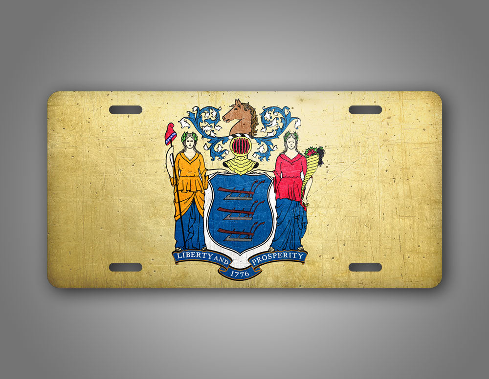 Weathered Metal New Jersey State Flag Auto Tag